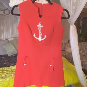 Real Vintage Sailor Red 1960s Disco Dress
